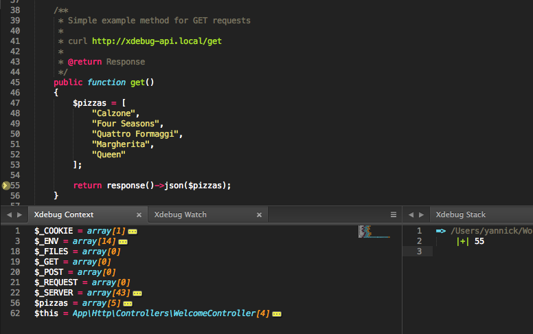Laravel Homestead: debug an API with Xdebug and cURL in Sublime Text